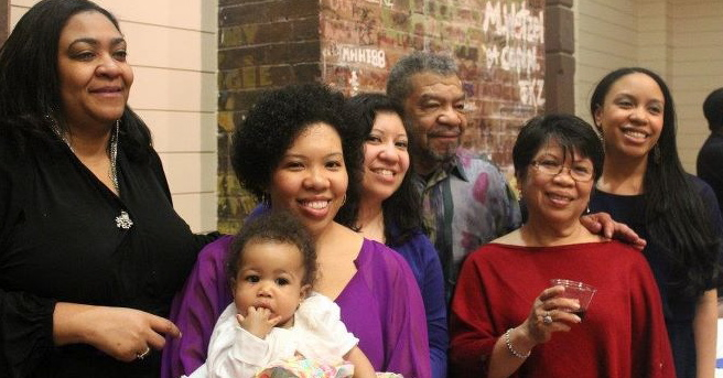 From left:  Darlene Jackson, Mayumi Escalante holding  grand daughter, Lina,Tala Hairston, Ernie, Mencie and Malaya Chatman.