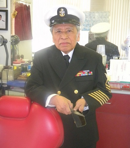 Remigio Cabacar learned to cut hair in the navy.  The FilAm Metro D.C. photo