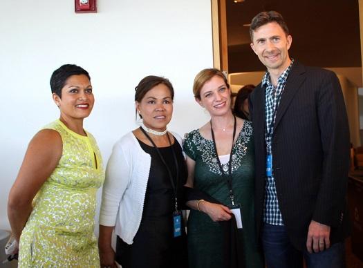 Forum panelists from left: moderator Anupy Singla, Cristeta Comerford, Pati Jinich and Trevor Corson. Photo:  Bing Branigin