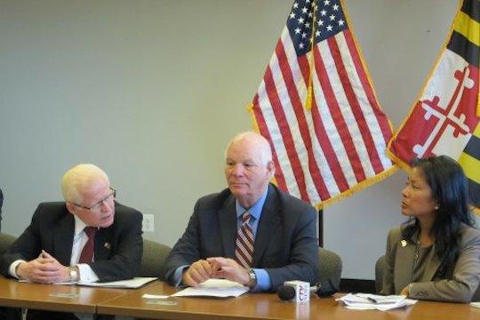 From left: Ambassador Jose L. Cuisia, Jr., Sen. Benjamin Cardin (D-Maryland), and Maryland State Delegate Kris Valderrama.  Philippine Embassy photo