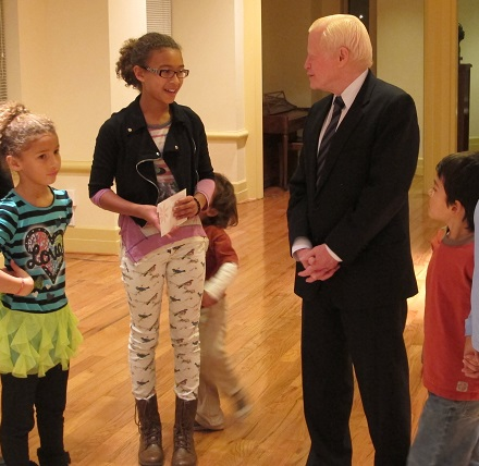 Amb. Jose Cuisia meets with pupils from the Latin American Montessori Bilingual Public Charter School in Washington D.C.  A $1,400 donation was turned over for Haiyan families. Embassy photo by Elmer G. Cato