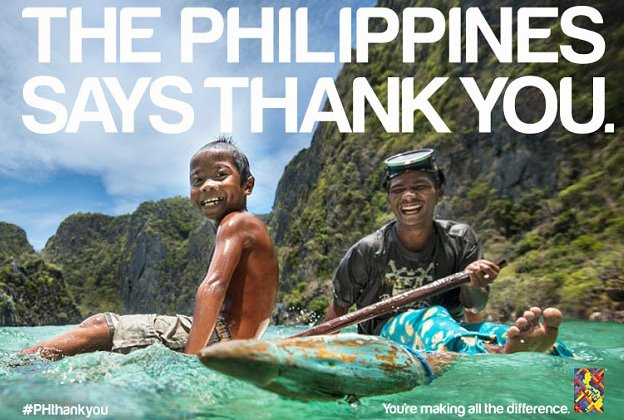 Three months after Haiyan, the Philippines mounted a large-scale tourism campaign thanking the world for their kindness and generosity.