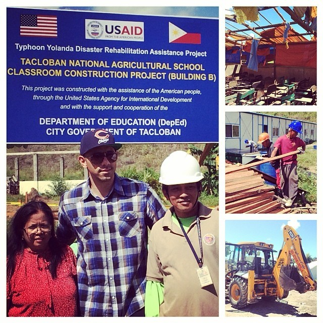 "With the Principal and the Foreman of a school torn to shreds being rebuilt by USAID to get the kids back to life again. They said all the books and computers were swept away and they are finding them destroyed all over the place far away."" / From the Instagram of Billy Dec"