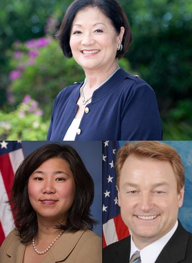 From top:  Sen.  Mazie Hirono, Rep Grace Meng and Sen. Dean Heller