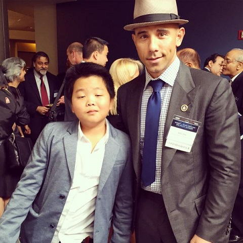 Commissioner Billy Dec of the President's Advisory Commission on AAPIs with 'Fresh Off the Boat' child star Hudson Yang