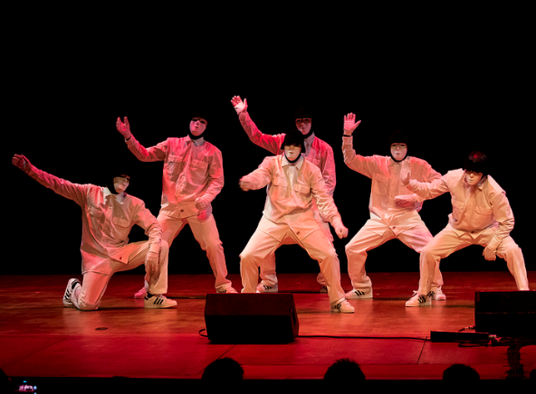 The Jabbawockeez dance crew from San Diego, California performs freestyle hip hop