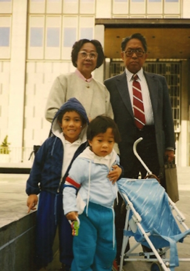 Jason (bottom right) with his brother, grandmother and grandfather on the day of his grandfather's U.S. citizenship naturalization ceremony in San Francisco, CA, 1990.
