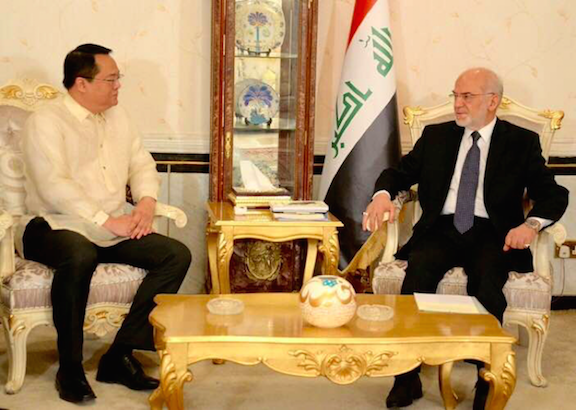 Iraqi Foreign Minister Dr. Ibrahim Al-Jaafari expresses his desire to further expand the level of cooperation between the Philippines and Iraq during a courtesy call by Chargé d'Affaires Elmer G. Cato of the Philippine Embassy in Baghdad. The Philippines and Iraq are commemorating the 40th year of the establishment of diplomatic relations this year.  Photo: Iraqi Ministry of Foreign Affairs