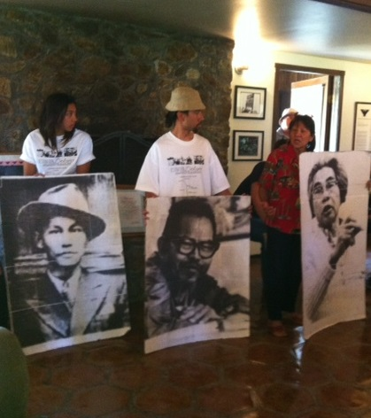 Bulosan, Itliong and Vera Cruz memorialized in poster images. TFLA photos