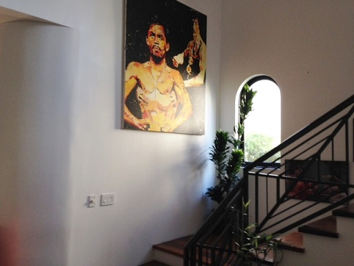 Portrait of Pacquiao by the stairwell leading to the second floor. Photos by Cecile Ochoa