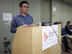 Immigrant Advocate Anthony Ng of Asian Americans Advancing Justice-LA gives testimony on his life as a DACA recipient.  Contributed photo.
