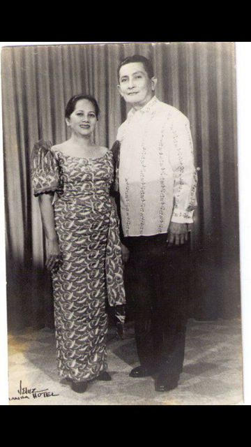 My lolo Former Camarines Norte Governor Fernando Suzara and my lola Sofia Soriano Suzara, the latter is the grand daughter of General Vicente Lukban who fought in the Philippines-US War of 1901.