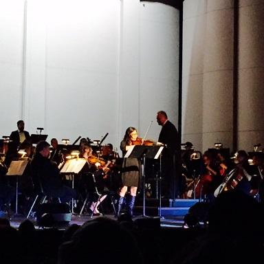"Concert master violinist Cecilia Coo-Cruz  plays Frank Sinatra's ""My Way,"" accompanied by FASO.  TheFILAMLA photo"