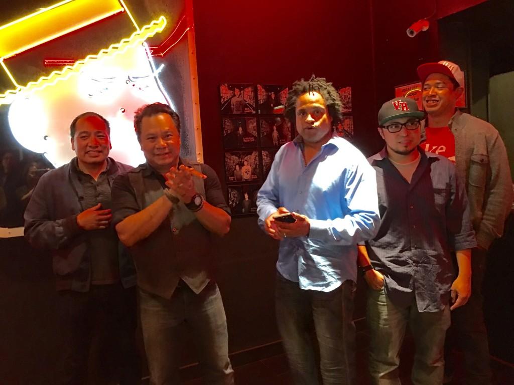 Comics with Rex (center) include Kevin Camia, Vargus Mason, Shain Brenden.