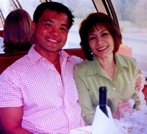 The author and his mother, Cleo Driessler, celebrate her birthday at Calistoga winery in Napa Valley.