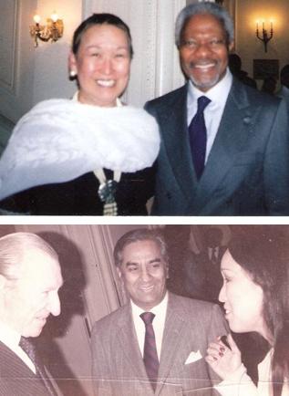 With UN Secretary Generals Kofi Annan (top photo) and Kurt Waldheim.