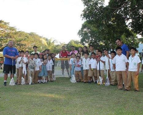 Introducing lacrosse to Filipino children...