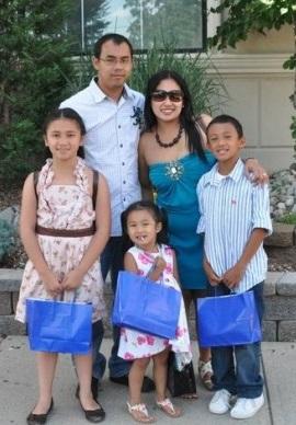 The Balatbat-Ortega family with Lord and Lolibeth and their children Lheandrew Lloyd, Lharieza Anne, and Lheanna Lyn. Photo: GoFundMe.com