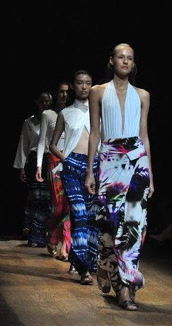 Josie Natori's collection highlights fuller skirts and sarong-inspired pants. Photos by Elton Lugay