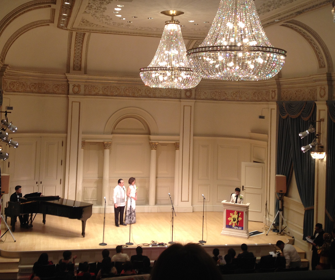 Keynote speakers Consul General Mario de Leon Jr. and CEO philanthropist Loida Nicolas Lewis have been with TOFA-NY since the awards search began in 2011. With them in this sprawling Carnegie Hall stage are host Maria Ressa of Rappler and pianist Yasuhiko Fukuoka.
