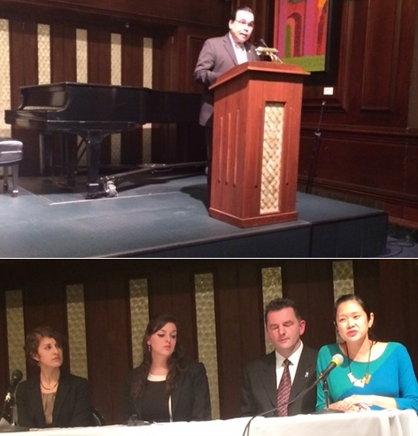 Top: Consul General Mario de Leon Jr.; Bottom: Resource speakers, from left: Taylor Gamble of Sanctuary for Families, Sarah Flatto of  the New York City Family Justice Center, NYPD Lt. Patrick Mulcahy, and Melissa Lim Chua of the New York Legal Assistance Group.