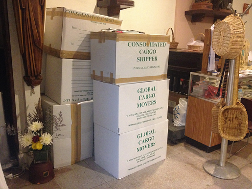 Donation boxes full of goods for Typhoon Haiyan victims.