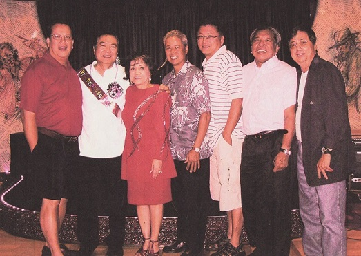 The author with her 'boys,' from left, former pupils Dan Macariola, Gil del Castillo, a faculty member; Tito Gallardo, Victor Pineda, Vic Santiago, and Paul Nelson