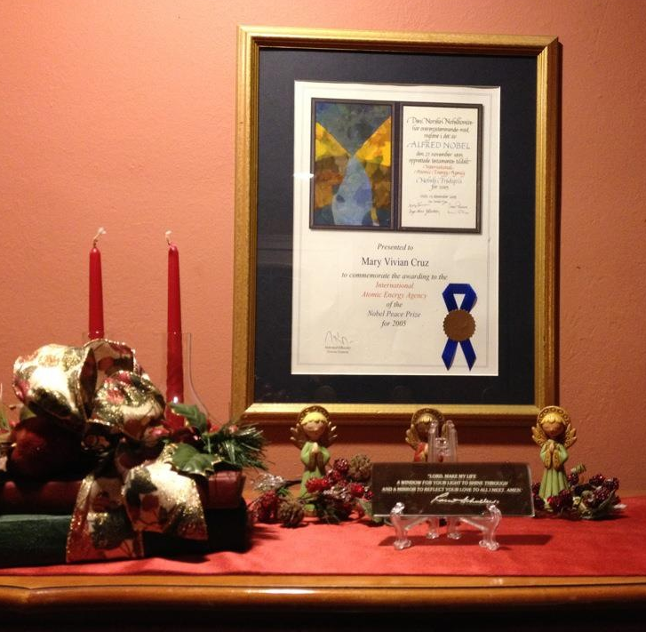The Nobel Peace certificate: In a good place at the Cruz residence in West Orange
