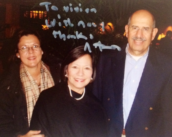 With former boss at IAEA Mohamed ElBaradei and his wife Aida
