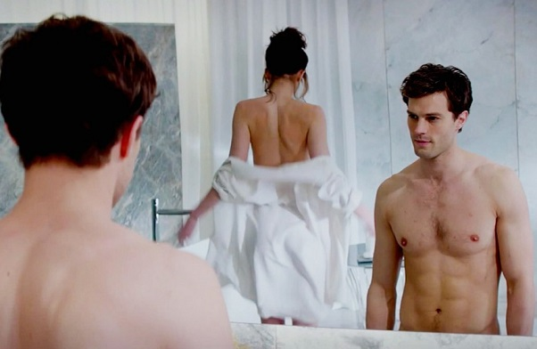 Johnson and Jamie Dornan, playing Christian Grey, in one of the film's sexually charged scenes