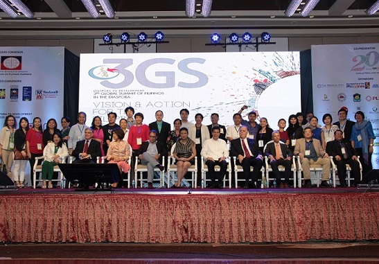 Delegates to the 3rd Global Summit of Filipinos in the Diaspora. Secretary Imelda Nicolas is seated at center. With them is New York CEO and philanthropist Loida Nicolas Lewis in front row.