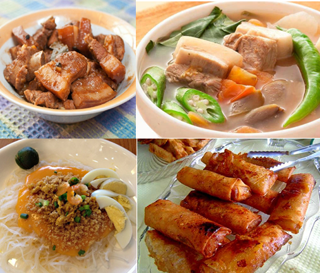 Some dishes that define Filipino cuisine: Pork Adobo, Pork Sinigang, Pancit Palabok with Chicharon topping, and Turon
