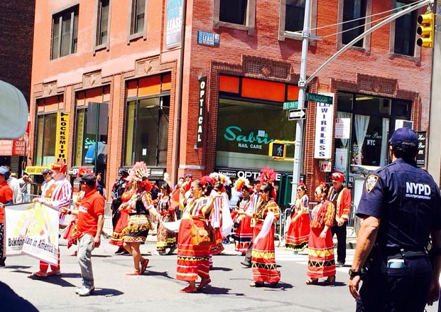 Marchers from the Bukidnon Association in America. Photo by Vivian Talambiras Cruz.