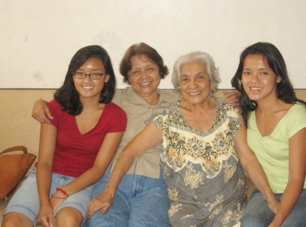 Taken in the summer of 2006, the author (right) joins four generations of Baes women: daughter Nicole, mom Carmelita, and grandmother Marciana Baes, who passed away in 2012.