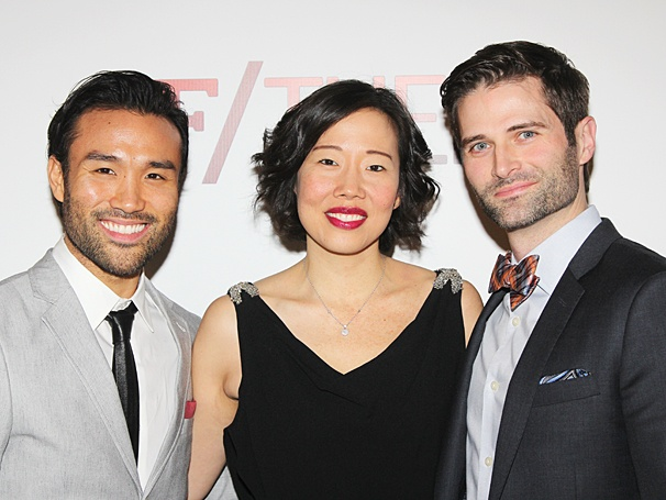 'If/Then' ensemble members Marc delaCruz, Pearl Sun and Charles Hagerty on opening night. Photo: Broadway.com