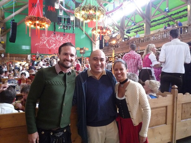 Snapshots  from the Munich Oktoberfest  parade: Entrancing cultural feel; The author with Fil-German relatives inside a beer hall tent.