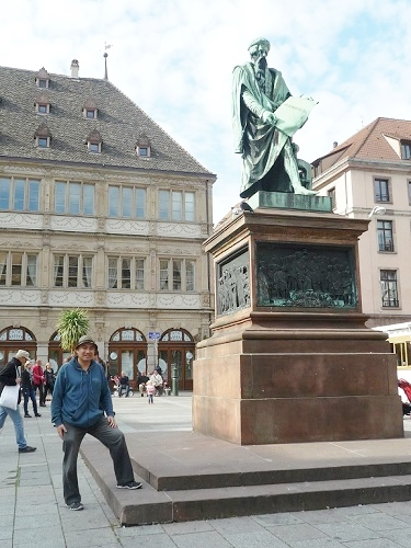 The statue of Johannes Gutenberg, who invented the first European moveable type printing press in Strasbourg