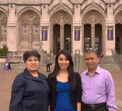 With proud parents Ramon and Ligaya Panela prior to the Husky 100 award celebration