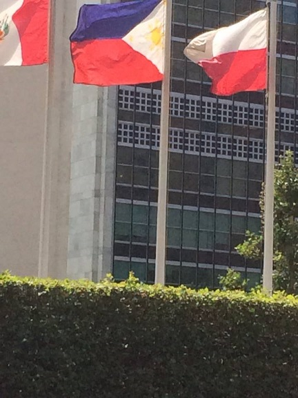 The Philippine flag flutters in front of the UN building.