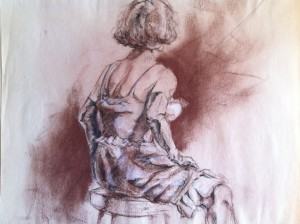 His drawing in charcoal and conte crayon