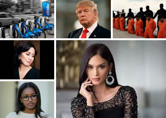 Clockwise from top left: Citibikes, Donald Trump, ISIS fighters, Pia Wurtzbach, Sasha Obama and Vice President Leni Robredo