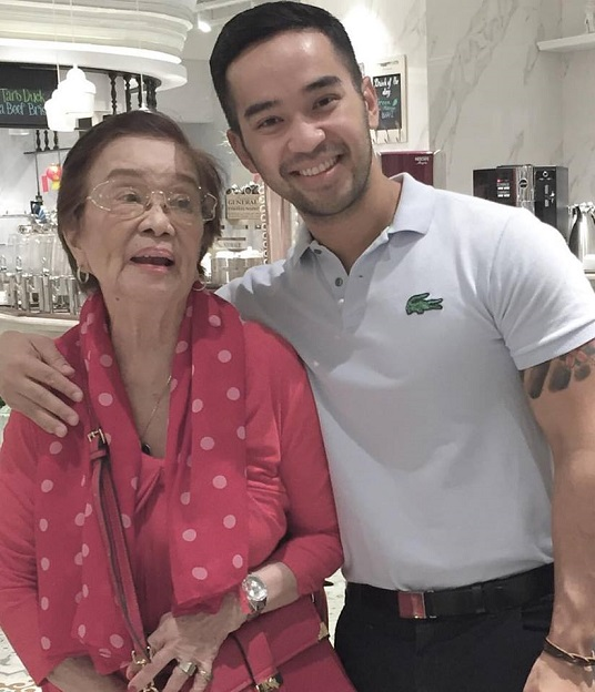The author with his grandmother, Judge Amanda Valera Cabigao