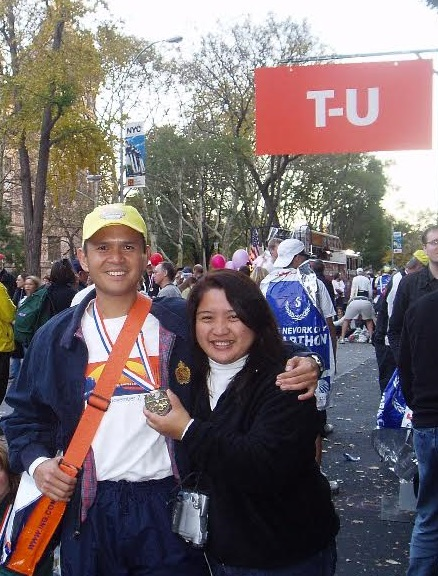 On November 7, 2004, author with wife Donna at the  Marathon Finish Family Reunion