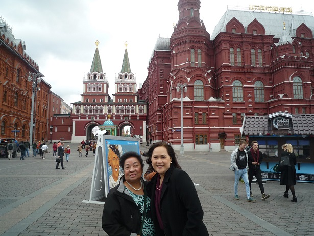 Author's mom Erlinda Gaa with the Ambassador's wife Teelo Sorreta in Kremlin, which means 'fortress inside a city'