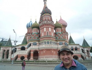 The author in front of the St. Basil's Cathedral