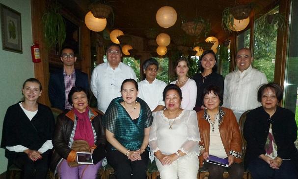 Ambassador Carlos Sorreta (standing 2nd from left)  hosts a reception promoting Philippine brand Mama Sita to Russian food distributors.