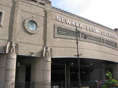 Jersey City's busy Communipaw Avenue (top); Newark Penn Station