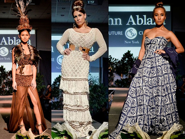 John Ablaza's designs straddle the dichotomy between spirited African colors and soft naturals. Mithi Aquino Thomas is at right. Photos by Troi Santos