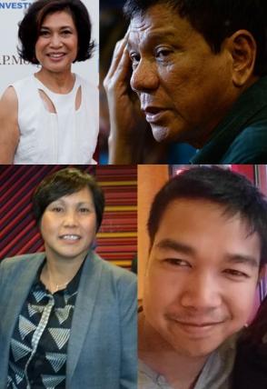 Top: Loida Nicolas Lewis; Rodrigo Duterte Lower: Rena Avendula; Rommel del Rosario