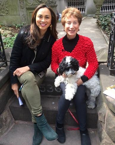 Ernabel Demillo interviewing New York Times columnist Jane Brody wearing her pre-loved Chloe jacket.